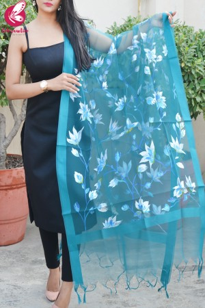 Teal Green Organza Hand painted White Floral Stole