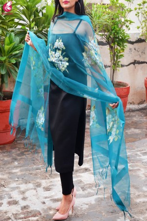 Teal Green Organza Floral Handpainted Stole