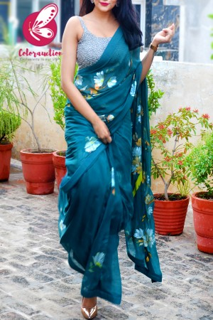 Teal Hand Painted Floral Pure Silk Chiffon Parrot Saree