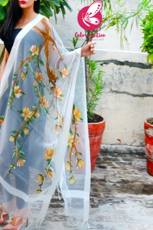 White Pure Organza Handpainted Floral Stole