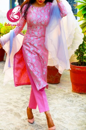 Rose Pink & Georgette Brocade Silk Padded Kurti with Rose Pink Cotton Silk Pants and Silver Pure Organza Three-Tier Ruffle Stole