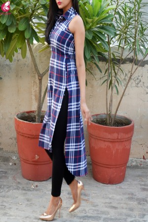 Blue Printed Cotton Sleeveless Asymmetric Kurti