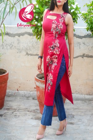 Raspberry Cotton Silk Sleeveless Patch Work Kurti