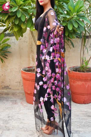 Black Organza Handpainted Floral Pink Stole