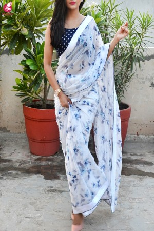 Multicolored Printed Chiffon Satin Taping Saree
