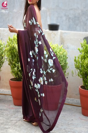 Wine Hand-painted Silk Chiffon Saree