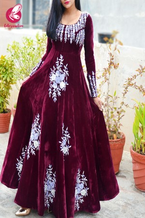 Wine Velvet Padded Dabka Zardosi Handwork Floor Length Gown
