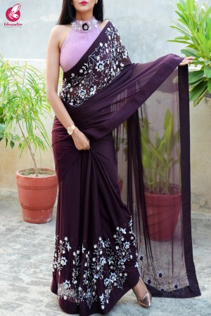 Wine Pure Silk Chiffon Sequins Pearl Handwork Saree