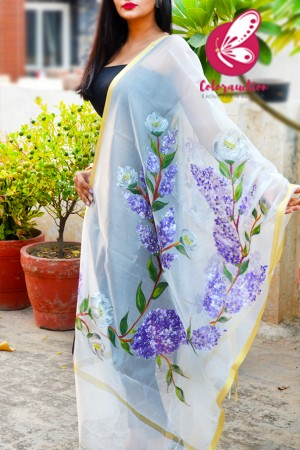 Off White Pure Organza Handpainted  Lilac Purple Floral Stole