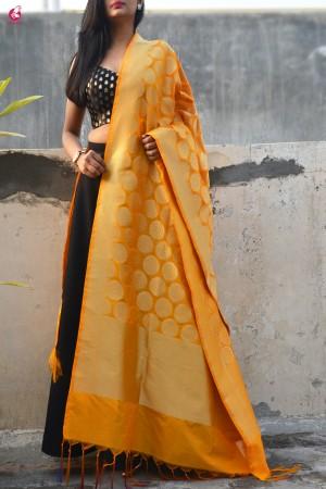 Turmeric Yellow Banarasi Silk Dupatta