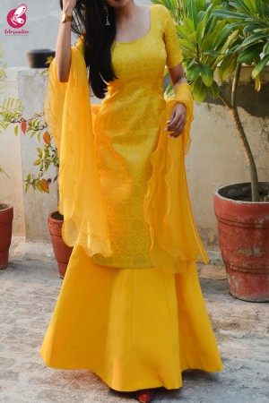 Yellow Brocade Padded Kurta with Yellow Crepe Skirt and Yellow Pure Organza Ruffle Dupatta
