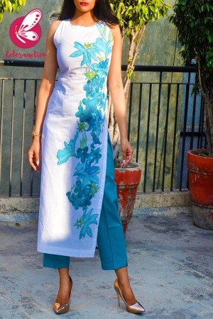 White Pure Linen Applique Work Kurti with Blue Cotton Silk Stripe Pants Kurti Set