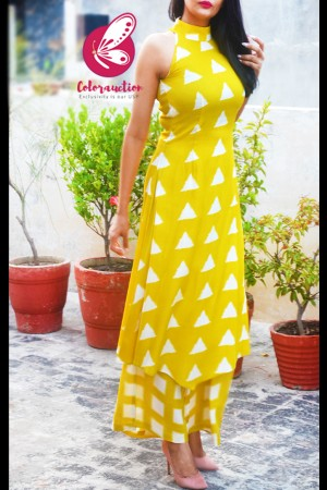 Yellow Printed Rayon Sleeveless Asymmetric Kurti Set