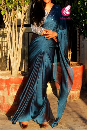 Teal Blue Satin Georgette Fancy Saree