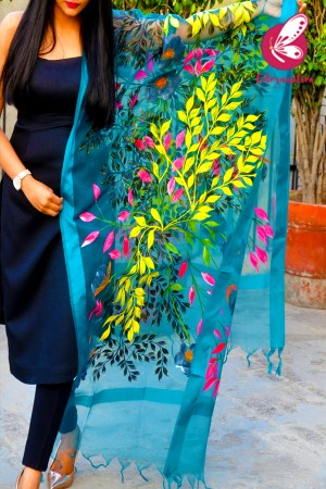 Teal Green Organza Handpainted Multicoloured Floral Stole