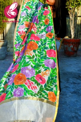 White Organza Hand painted Multicoloured Floral Stole