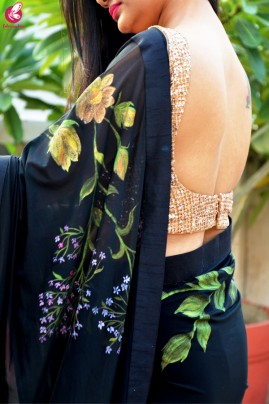 Black Lycra Net Hand-Painted Floral Saree