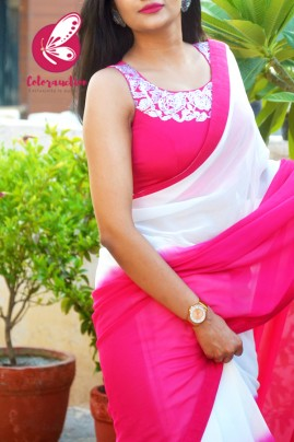 Hot Pink & White Double Shaded Georgette Saree