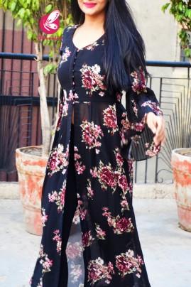 Black Printed Georgette Floral Long Kurti