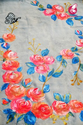 White Organza Hand painted Neon Colorful Floral Butterfly Stole
