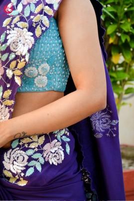 Purple Crepe Sequins Pearl Handwork Saree