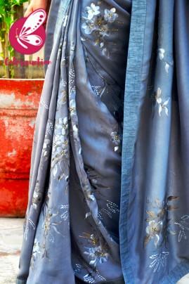 Grey Pure Silk Crepe Floral Handpainted Saree