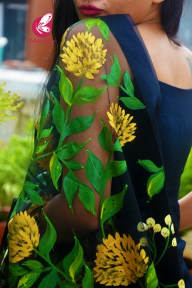 Black Pure Organza Golden Yellow Peonies Hand painted Stole