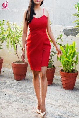 Red Padded Strappy Cotton Silk Dress