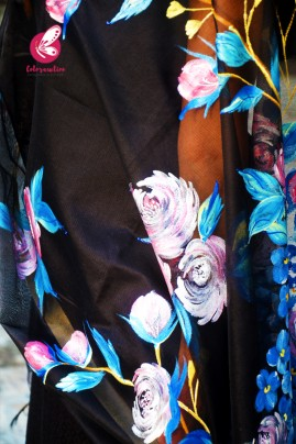 Black Pure Organza Multicoloured Floral Hand painted Stole
