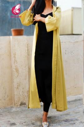 Chartreuse Quarter Sleeves Dobby Long Shrug