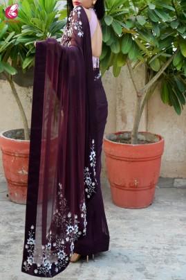 Wine Pure Silk Chiffon Sequins Pearl Handwork Saree
