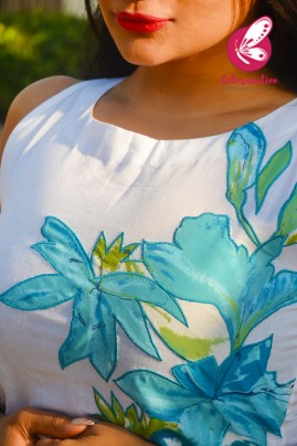 White Pure Linen Applique Work Kurti with Blue Cotton Silk Stripe Pants Kurti Set