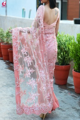 Fairy Light Pink Double Shaded Sequins Saree