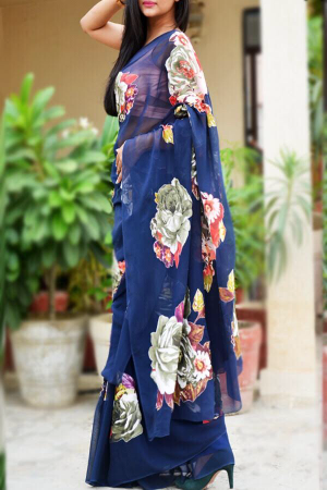 Blue Georgette Applique Saree