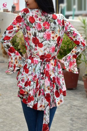 Multicolour Floral Georgette Shrug