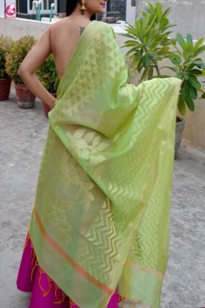 Lime Green Chanderi Zari Woven Dupatta