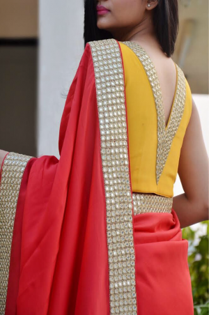 Red Crepe Handwork Designer Saree