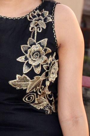 Black Linen A-Line Kurti Dress