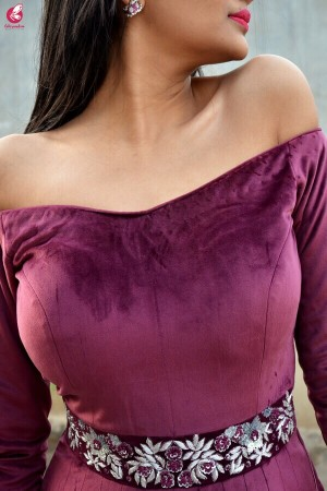 Wine Velvet off Shoulder Padded Gown