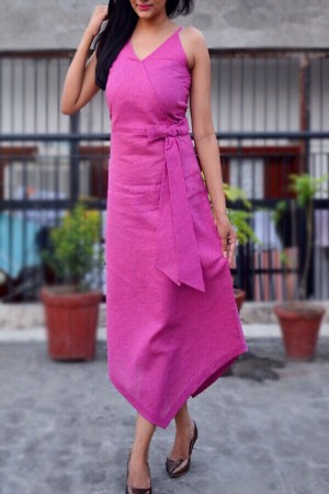 Pink Jute Strappy Asymmetric Maxi Dress