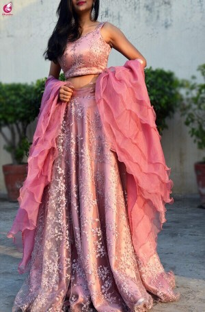 Pinkish Mauve Net Lehenga with Ruffle Dupatta