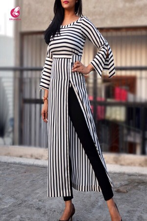 Black and White Stripes Crepe Kurti