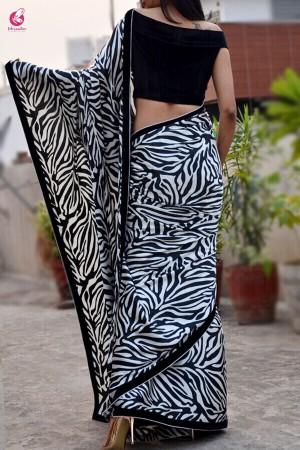 Black & White Printed Satin Saree