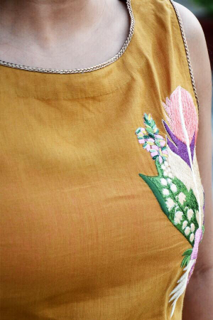 Mustard Linen Embroidered A-Line Kurti Dress