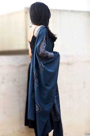 Grey Silk Embroidered Butterfly Stole