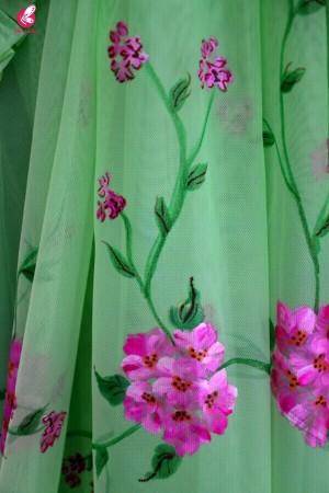 Neon Green Net Handpainted Saree