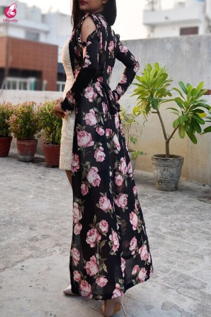 Black Georgette Floral Long Shrug