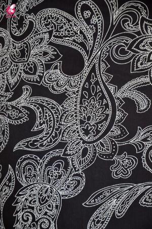 Black Crepe Printed A-Line Kurti