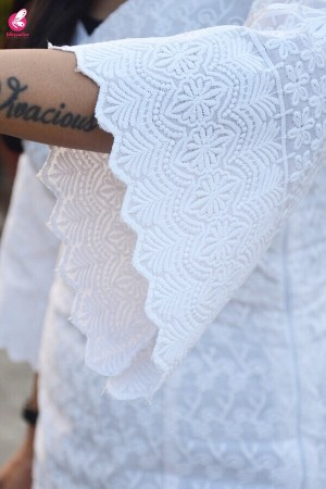 White Cotton Chikankari Side Panels Dress