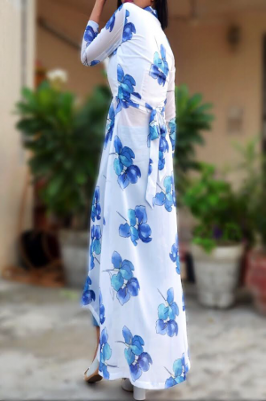 Off White Printed Georgette Kurti